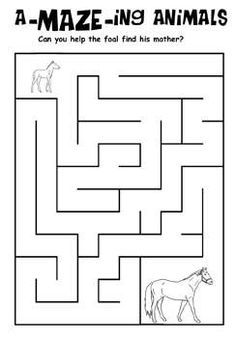 Free Kids Printable Activities Horse And Foal Maze Coloring Pages Word Puzzles