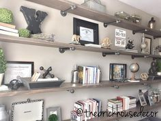 DIY, pipe shelves, office decor, home office, shelf style, home decor, industrial farmhouse