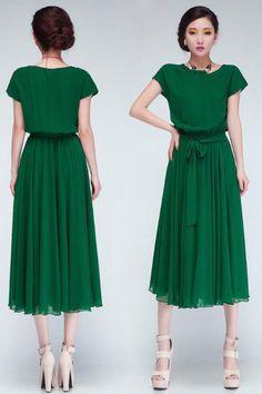 Bat sleeve elastic waist size loose chiffon dress belt length4