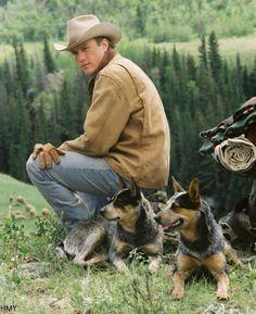 Heath as Ennis Del Mar in movie Brokeback Mountain