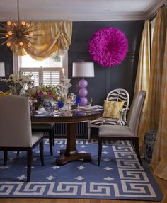 Get the look : Zanadoo Chandelier - Arteriors Home | lighting over dining table in a gold, navy, pink dining room