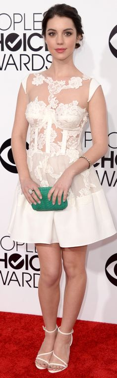 Spotted: a sexy white corset style dress on Adelaide Kane