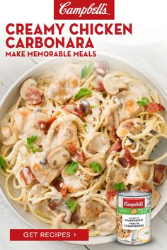 Supper Recipes, New Recipes, Favorite Recipes, Healthy Recipes, Recipies, Creamy Chicken Carbonara, Pasta Dishes, Food Dishes, Cooker Recipes