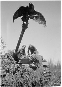 """The crew of a Finnish Stug III and their """"mascot""""..."""
