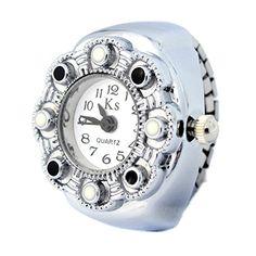 MapofBeauty Kreative niedlich bonbonfarbenen Weiß Quarz Ring Uhr (schwarz) - http://uhr.haus/mapofbeauty/mapofbeauty-kreative-niedlich-bonbonfarbenen-4