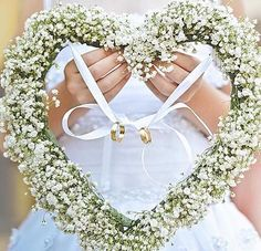 This is such a great way to bring in the rings instead of on a pillow. This heart wreath can be made with grapevine too so it will last longer and can be hung of the wall as a reminder of the ceremony for years to come! Perfect Wedding, Diy Wedding, Wedding Gifts, Wedding Flowers, Wedding Day, Wedding Bands, Ring Holder Wedding, Ring Pillow Wedding, Wedding Rituals