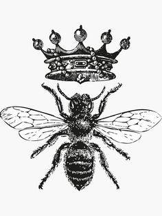 You are bee-autifully created. Black And White Stickers, Black And White T Shirts, Black And White Frames, Black And White Drawing, Black And White Bee, Queen Bee Tattoo, Queen Crown Tattoo, White Framed Art, Bee Illustration