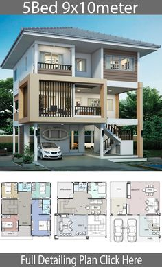 House design plan with 5 bedrooms - Home Design with Plansearch House design plan with 5 bedrooms.Style Thai ModernHouse description:Number of floors 3 storey housebedroom 5 roomstoilet 3 roomsmaid's room Bungalow House Design, House Front Design, Small House Design, Modern House Design, Sims House Plans, House Layout Plans, House Layouts, Home Building Design, Home Design Plans