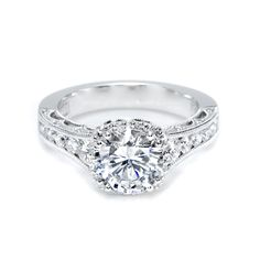 tacori platinum engagement rings | Tacori Crescent Platinum & Diamond Halo Semi Mount Engagement Ring