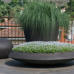 Balcony with Atelier Vierkant planters Modern Landscaping, Outdoor Landscaping, Front Yard Landscaping, Outdoor Gardens, Grands Pots, Balkon Design, Container Plants, Container Gardening, Garden Planters