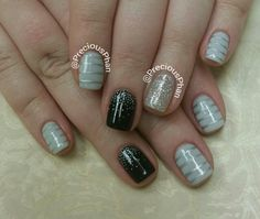 Grey and black nails.Ombre nails. Stripe nails. #PreciousPhanNails