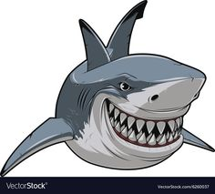 Illustration about Vector illustration, toothy smiling white shark swims. Illustration of design, funny, isolated - 60845872 Cartoon Sea Animals, Anime Animals, Shark Illustration, Shark Logo, Shark Art, Save The Whales, Japan Painting, Dog Vector, Free Cartoons