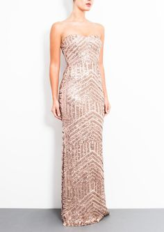 Formal or Bridesmaids Gown: CELINE - Long Gold Sequin Dress (from Forever Unique: Luxury Ladies Fashion)