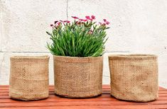 Hessian plant holders DIY