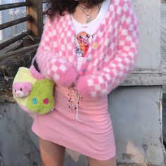 Barbie powder girl short mohair small plaid love cardigan · FE CLOTHING · Online Store Powered by Storenvy Indie Outfits, Hipster Outfits, Cute Casual Outfits, Pink Outfits, Retro Outfits, Fashion Outfits, Girly Girl Outfits, Fashion Pants, Summer Outfits