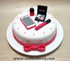 Makeup Birthday Cakes, Girly Birthday Cakes, 12th Birthday Cake, Elegant Birthday Cakes, Happy Birthday Cake Images, Birthday Cakes For Women, Teen Cakes, Girl Cakes, Birthday Cake Write Name