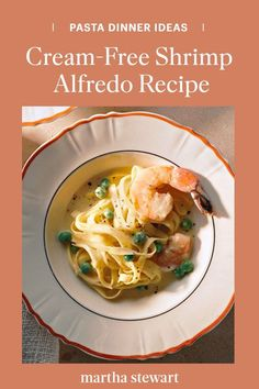 Make this cream-free shrimp alfredo recipe as a family-friendly weeknight dinner idea everyone will enjoy. This creamy yet cream-less alfredo is made by slowly whisking in butter, cheese, and egg yolk instead of using cream, and is guaranteed to be a crowd-pleasing recipe. #marthastewart #recipes #recipeideas #seafoodrecipes #seafooddinners #seafood Fish Recipes, Seafood Recipes, Pasta Recipes, Dinner Recipes, Healthy Recipes, Shrimp Alfredo Recipe, Butter Cheese, Pasta Dinners, Fish Dishes