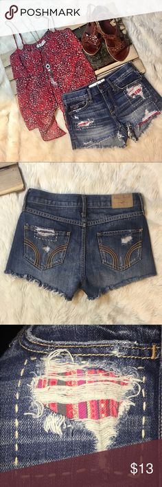 Hollister Grunge Destroyed Patch High Waist CutOff Style - Cut Off Mini Jean Shorts High Waist Thick Stitch Back Pockets Destroyed Patch Work Hollister Logo on Belt Line Hand Sanding and Whiskering 5 Pocket Zipper Fly Front Button Closure * Excellent Condition Hollister Shorts Jean Shorts