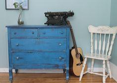 Painted and distressed blue dresser /// commode bleue peinte et patinée Dresser, Koh Tao, Decoration, Painted Furniture, Antiques, Furnitures, Home Decor, Blue Dresser, Weathered Wood