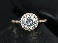 Kimberly Original Size 14kt Rose Gold Thin Round FB Moissanite Halo Engagement(Other metals and stone options available)    amazing!!!