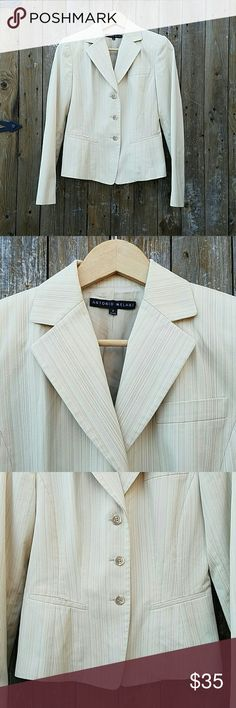 Antonio Melani Pinstripe Tan Lined Blazer Jacket Tan pinstripe Fully Lined 3 Button Closure Bust is 36 inches Sleeve Length is 24 inches Length of Blazer is 22 inches Shell is 64% Cotton, 34% Polyester & 2% Elastane Lining 100% Acetate Antonio Melani Jackets & Coats Blazers
