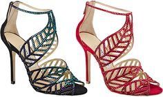 92e86085cbe Jimmy Choo Kallai Crystal Suede Leaf Sandals in black green and red