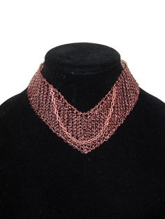 Wire crochet necklace, angled copper choker, antique copper tone, mesh choker, modern collar necklace by LogicFreeDesign on Etsy https://www.etsy.com/listing/166811468/wire-crochet-necklace-angled-copper