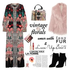 """Smell the Roses: Vintage Florals"" by ellie366 ❤ liked on Polyvore featuring Temperley London, Tom Ford, Miu Miu, Essie, Sephora Collection, Charlotte Tilbury, vintage, maxidress, LaceUpBoots and floraldress"