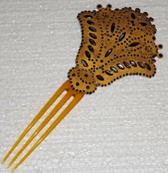 ANTIQUE VICTORIAN HAIR COMB - VICTORIAN CUT STEEL AND HORN   eBay