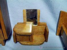 Conjunto de muebles para casa de muñecas, tipo decó, en madera barnizada, artesanal, Años 30-40 c. - Foto 5