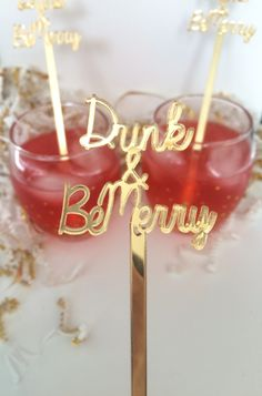 Drink & Be Merry Drink Stirrers,Stir Sticks,Swizzle sticks,Perfect Weddings,Bridal Shower, Engagement,Cocktails,Gold Glitter,Acrylic,6 Pk by JennandJulesDesigns on Etsy