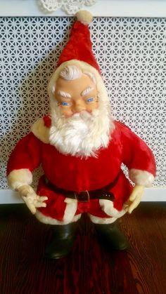 "Large Vintage My Toy 24"" Plush Vinyl Face Santa Doll,  Collectible Santas, Vintage Santa, Kitschy Santa, Vinyl Santa,Saint Nicholas Doll by Lalecreations on Etsy"