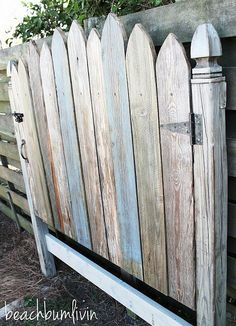 Reclaimed Wood Fence Gate Headboard. I'd love this in my garden!