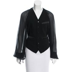 Pre-owned Jean Paul Gaultier Long Sleeve Button-Up Vest ($225) ❤ liked on Polyvore featuring outerwear, vests, black, vest waistcoat, button up vest, button down vest, v neck vest and jean-paul gaultier