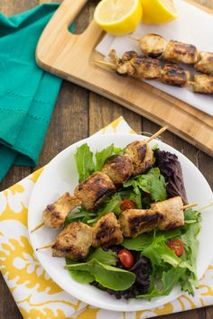 Lemon and Garlic Chicken Skewers--Recipe on Page 82 of the Squeaky Clean Paleo eBook #paleo #lowcarb #grainfree