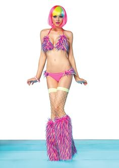 Dance Wear Neon Confetti Fur Ravewear Bikini by Leg Avenue 28110. Pictured with Matching Confetti Leg Warmers and Fence Net Stockings (Both Sold Separately).