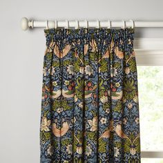 Buy Morris & Co. Strawberry Thief Pair Lined Pencil Pleat Curtains, Duck Egg from our Ready Made Curtains & Voiles range at John Lewis & Partners. Lounge Curtains, Pleated Curtains, Green Curtains, Hanging Curtains, Valance Curtains, Blue Pattern Curtains, Cottage Curtains, Patterned Curtains, Curtains