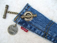 I cannot get over how amazing these are. Levi Denim Cuff Bracelet Jeans Bracelet Blue Denim by PieceLust, $25.00