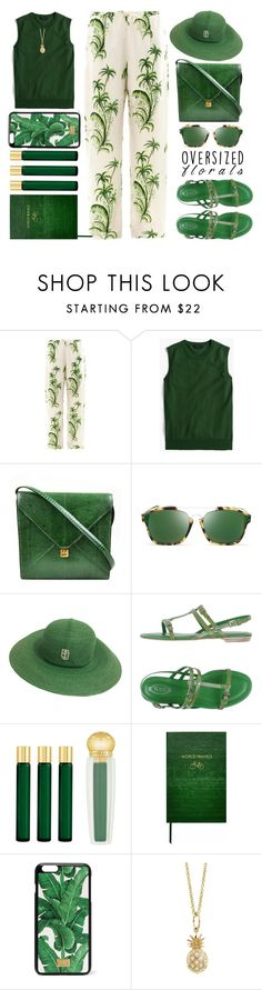 """Green!!"" by juliehalloran ❤ liked on Polyvore featuring Easton Pearson, J.Crew, Hermès, Christian Dior, Emilio Pucci, Tod's, AMOUAGE, Sloane Stationery, Dolce&Gabbana and Sydney Evan"