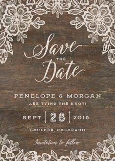 """Woodgrain Lace Save the Date from <a href=""""http://elli.com"""" rel=""""nofollow"""" target=""""_blank"""">elli.com</a>"""