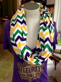 Fleurty Girl - Everything New Orleans - Mardi Gras Chevron Infinity Scarf - Just Arrived - New