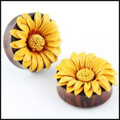 Double Flare Organic Sono Wood Leather SunFlower ear Plugs Gauges | eBay