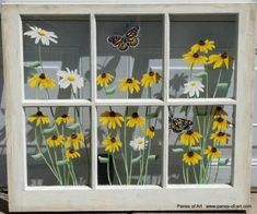 Panes of Art, Barn Quilts, Hand Painted Windows, Window Art, Decorative Window… Old Windows Painted, Painted Window Panes, Antique Windows, Vintage Windows, Painted Doors, Painting On Windows, Window Paint, Old Window Art, Window Pane Art