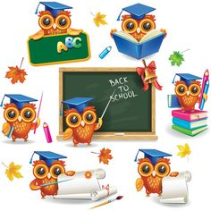Buy Set Of Wise Owls In Graduation Caps By On GraphicRiver Zip Contains 1 JPEG File High Resolution