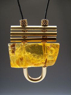 Ambre Jaune pendant: baltic amber, sterling silver. CLS Jewelry.