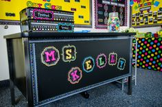 Add Chalkboard Brights Magnetic Letters over Magnetic Accents to dress up a plan teacher desk