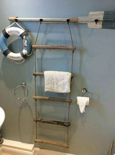 Make a boat ladder and paddle in to a towel rack How cute is this! Make a boat ladder and paddle in to a towel rack The post How cute is this! Make a boat ladder and paddle in to a towel rack appeared first on Charlotte Thompson. Nautical Bathroom Decor, Beach Theme Bathroom, Beach Bathrooms, Seaside Bathroom, Bathroom Mirrors, Nautical Bedroom, Lake House Bathroom, Coastal Bathrooms, Downstairs Bathroom