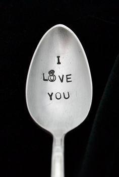 Hand Stamped Spoon Stamped Spoon with Diamond by TheSilverwearShop, $12.00 https://www.facebook.com/NKsilverwear