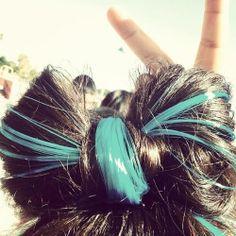 Blue highlights hair bow adorable!!!!!