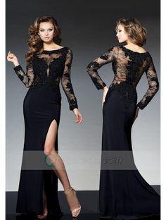Buy Sheath Bateau Floor-length Jersey Evening Dress with Appliqued Beaded Split Front - QQdress.com